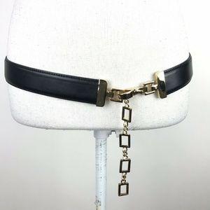 St. John Chain Belt Size 32 Black Gold Italy